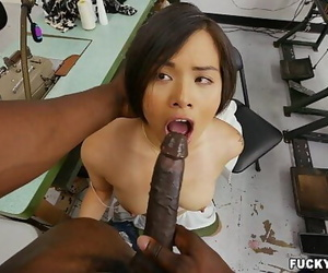 Asian Cum-shots on ebony cock